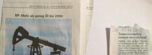 Zeitungsartikel - Ölreserve bis 2050 - Temperaturanstieg über 1 Kelvin
