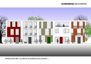 individuelles Reihenhaus - Straßenansicht - Studie Bellevue 2.0