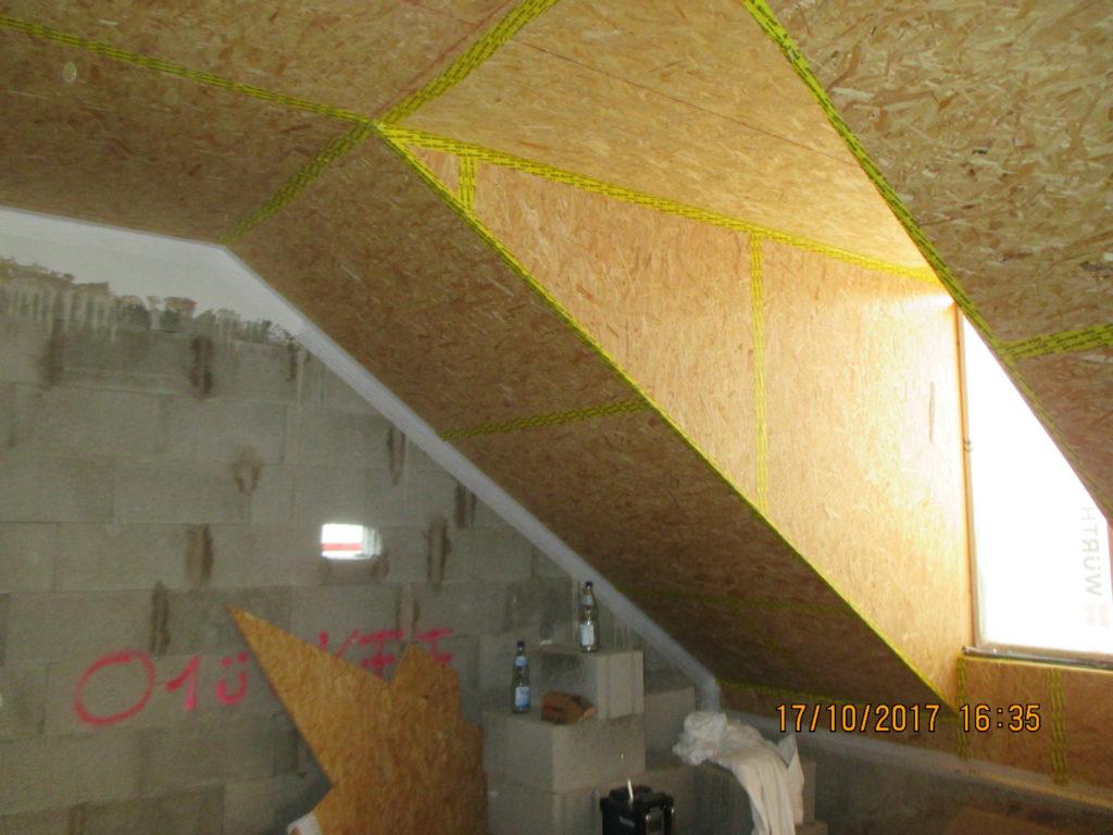 Dachausbau, Innenschale OSB, Verklebung