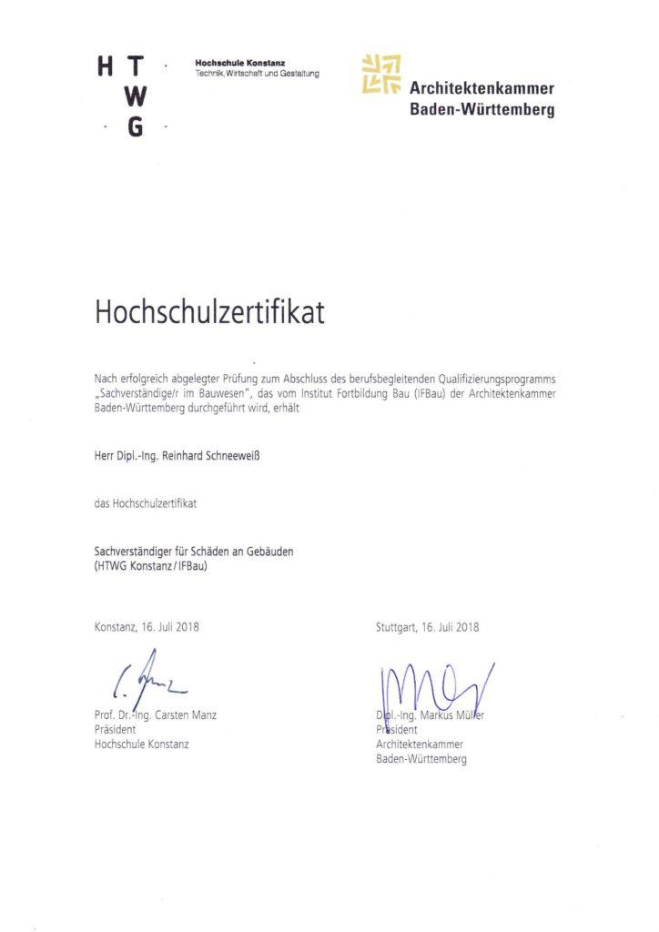 """Hochschulzertifikat """"Sachverständiger für Schäden an Gebäuden"""" für Dipl. Ing. Reinhard Schneeweiß"""